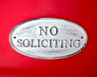 NO Soliciting cast iron sign/ No soliciting Metal Sign / No solicitation sign