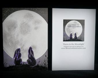 Mond blickte Hasen Grußkarten Wicca Hexe Pagan