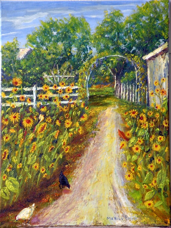 Oil Painting Sunflowers Garden Chickens Etsy
