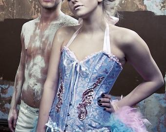 ALICE in WONDERLAND Moulin Burlesque dress Corset Rouge Saloon Girl Costume