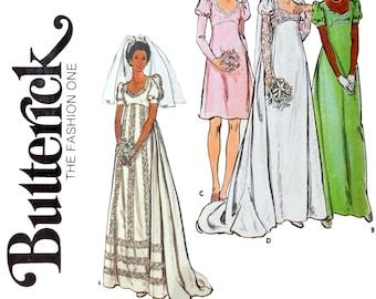1970s Wedding Dress Sewing Pattern - Empire Waist Puff Sleeves Size 12 Bust 34 Bridesmaid Dress Bridal Gown - Butterick 3478