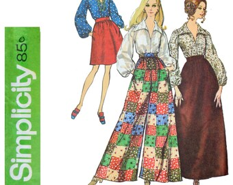 1960s Wide Leg Pants Pattern - Size 12 Bust 34 Simplicity 8550 - Pallazzo pants, V Neck Shirt, Skirts 60s Sewing Pattern