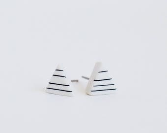 Porcelain Pinstripe Triangle Stud Earrings