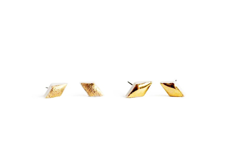 271b5d8a4 22k Gold Porcelain Diamond Stud Earrings | Etsy