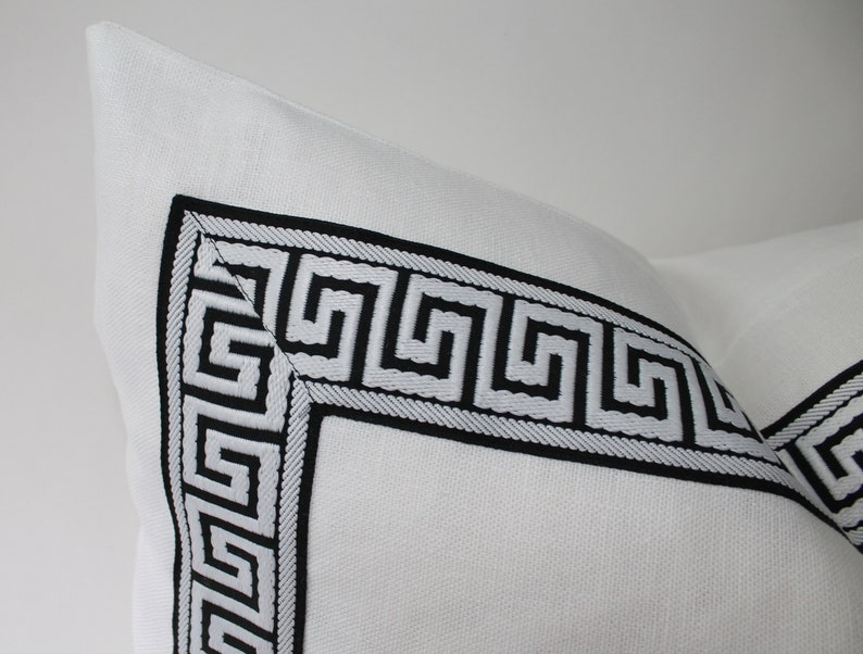 24x24 Throw Pillow 22x22 Greek Key White and Black Linen Accent Pillow Cover 20x20 Chinoiserie Throw Pillow Decorative Designer