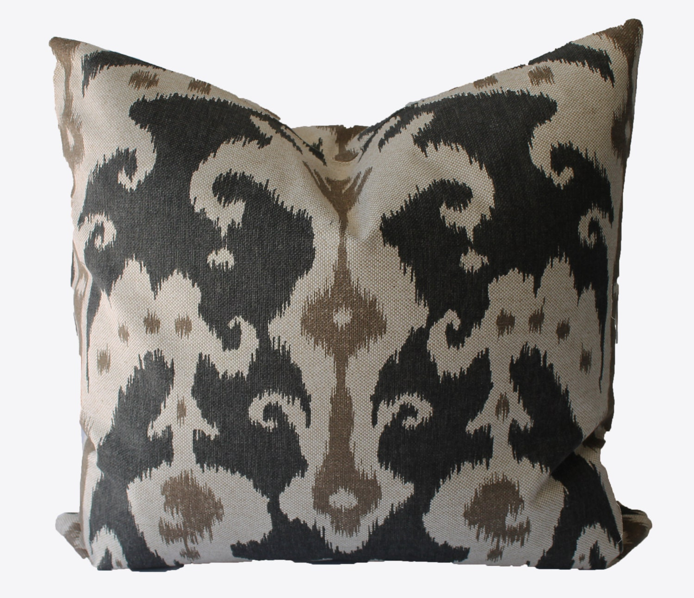 Decorative Ikat Charcoal Grey Beige Tan Marrakesh 18x18 Etsy