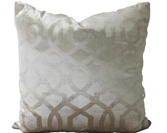 Decorative, Designer, Iman, Embossed Velvet, Champagne Beige Throw Pillow, 18x18, 20x20, 22x22, or Lumbar Throw Pillow