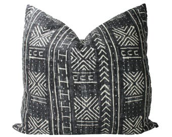 Decorative Designer Genevieve Gorder Mali Mud Cloth, Black, Pillow Cover, 18x18, 20x20, 22x22 or Lumbar Throw Pillow