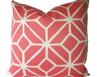 Decorative Designer Schumacher Trina Turk, Trellis, Lattice Pillow Cover, Watermelon,  size 18x18, 20x20, 22x22 or Lumbar, Throw Pillow