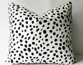 Decorative Black and White Spots, Pillow Cover, 18x18, 20x20, 22x22 or Lumbar Polka Dots Throw Pillow