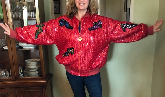 Vintage Italian red sequin jacket, wow statement c