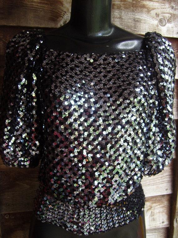 80s Black sequin mesh top, sequin top - image 1