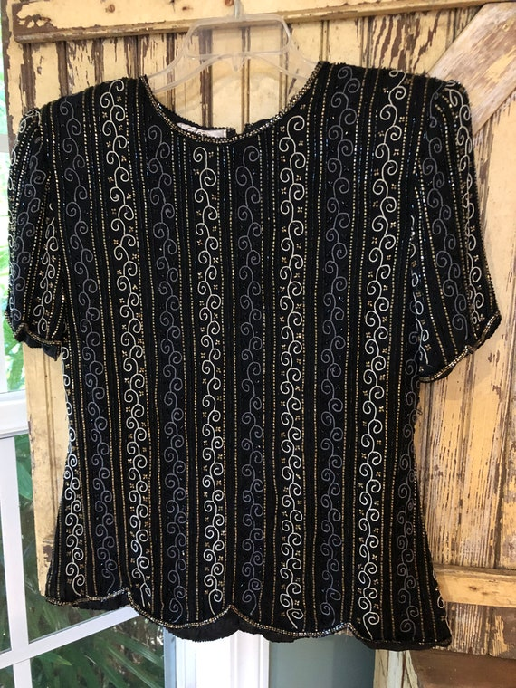 Vintage beaded blouse, vintage formalwear