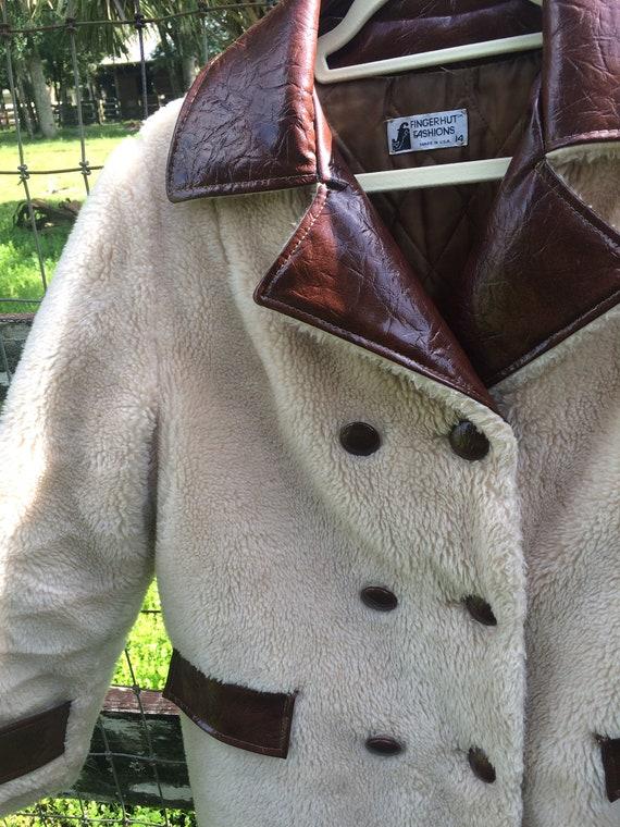 Vintage 70's Boho chic winter coat, Faux sheepskin