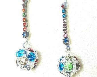 Rhinestone Balls with Crystal Chain Earrings