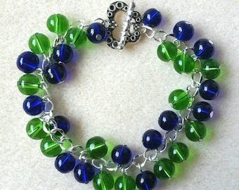 Green and Blue Glass Cluster Bracelet
