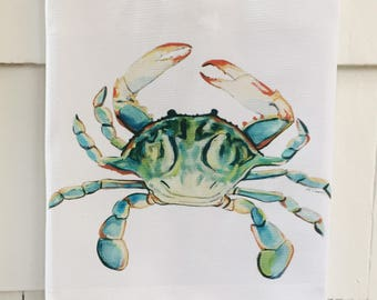 Ol' Bay Crab.  Cotton Huck Kitchen Towel