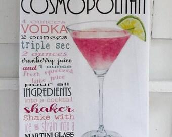 Cosmopolitan Drink Recipe Cotton Huck Kitchen Towel, 18x33