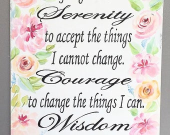 Serenity Prayer hand painted 18x24 wood sign
