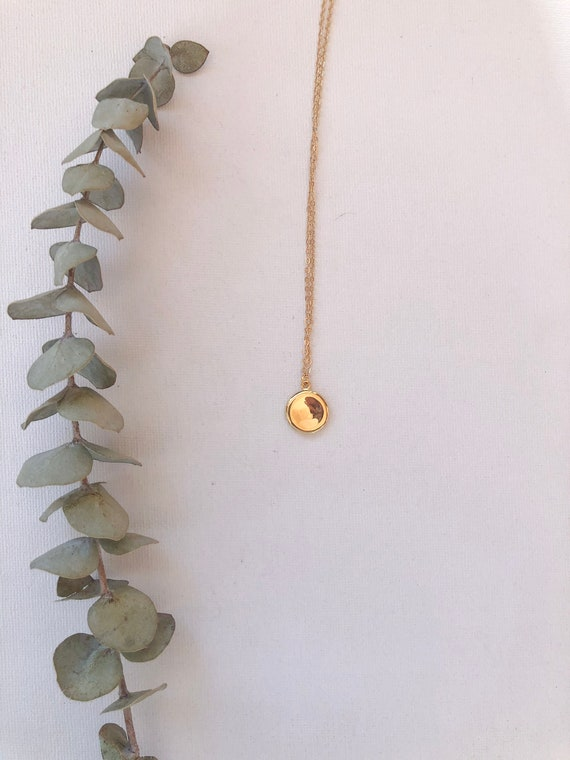 Emberly- gold plated chain, simple round pendant minimalist necklace - wedding, gift
