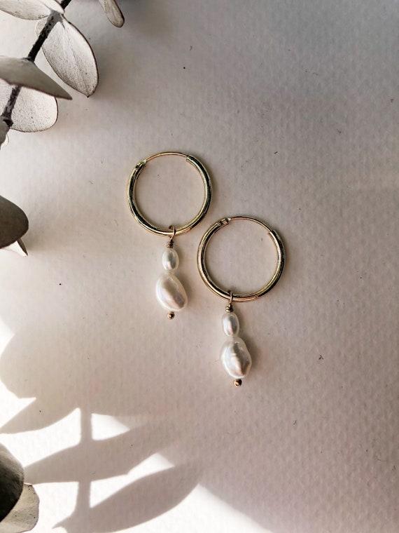 Regina - dainty pearl hoop gold filled earrings- everyday wear