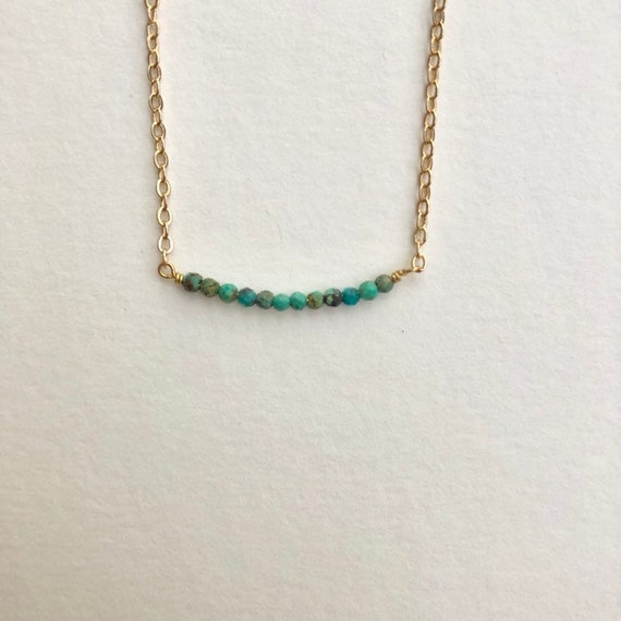 Peyton- tiny turquoise bead necklace, dainty gold plated chain