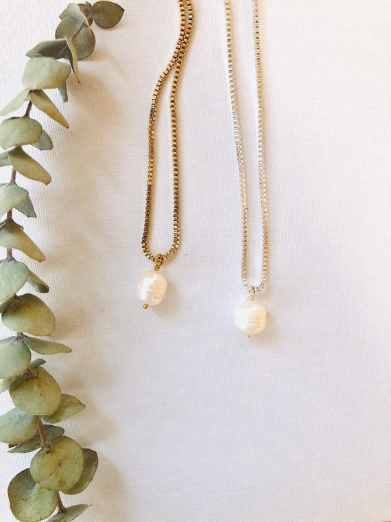 Tianna - boxed plated chain, large imperfect pearl minimalist necklace - wedding, gift