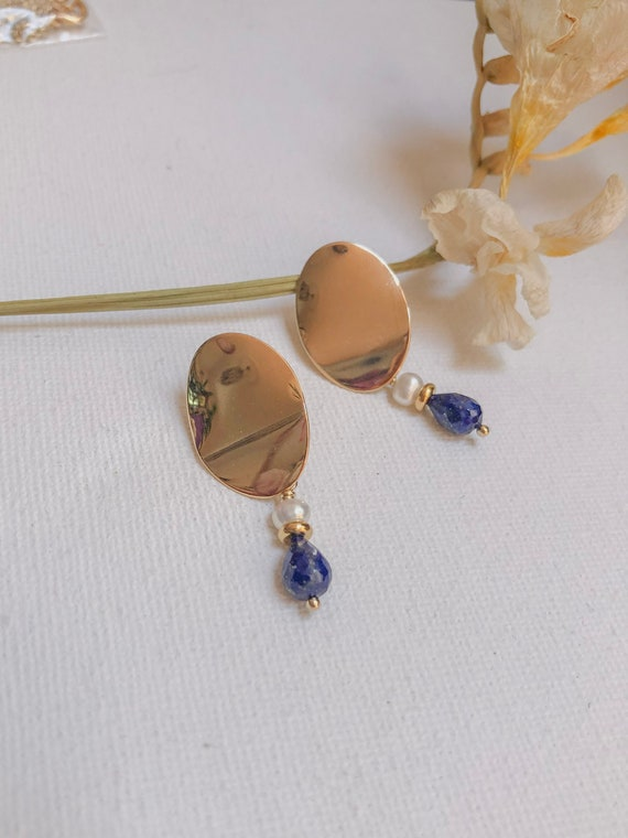 Lanai - bold gold plated organic lapis and pearl earring