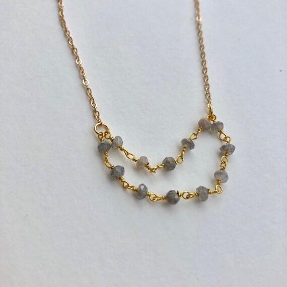 Tori - gold plated labradorite bead minimalist necklace - wedding, gift