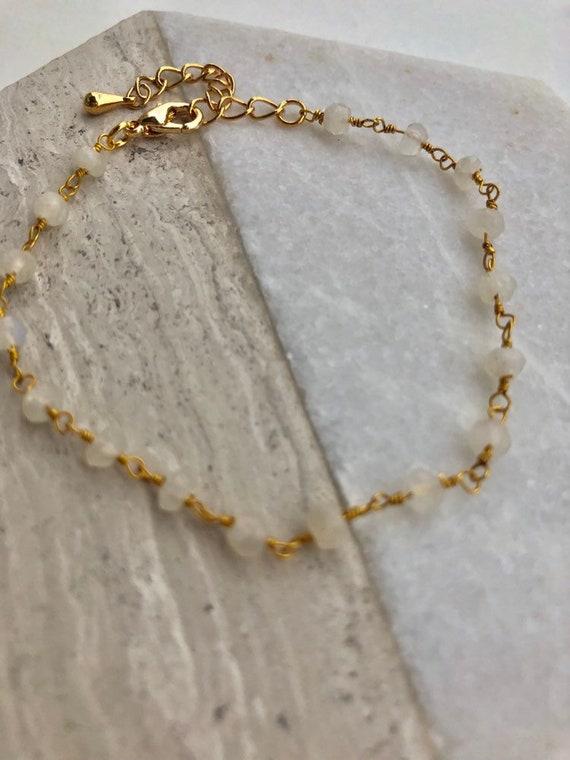 Josephine - dainty moonstone bead bracelet