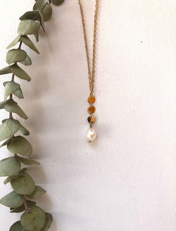 Sia - gold plated chain, white imperfect pearl minimalist necklace - wedding, gift