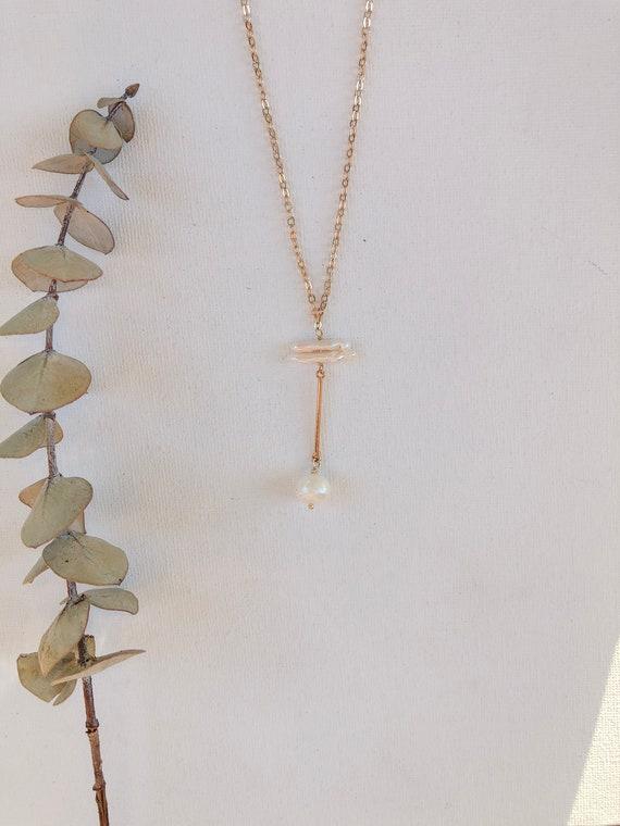 Francoise - gold plated chain, Biwa pearl minimalist necklace - wedding, gift