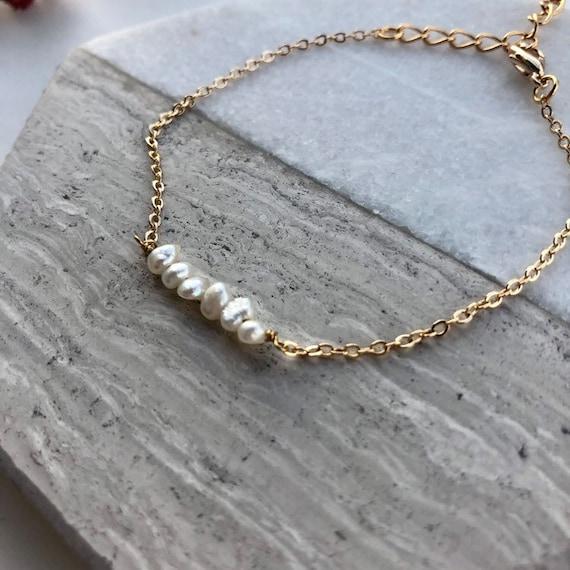 Niamh - minimalist dainty pearl bracelet, wedding, gift