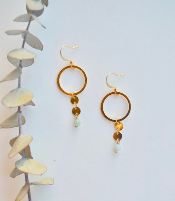 Danielle - delicate hoop, amazonite bead earring - everyday elegant boho gift