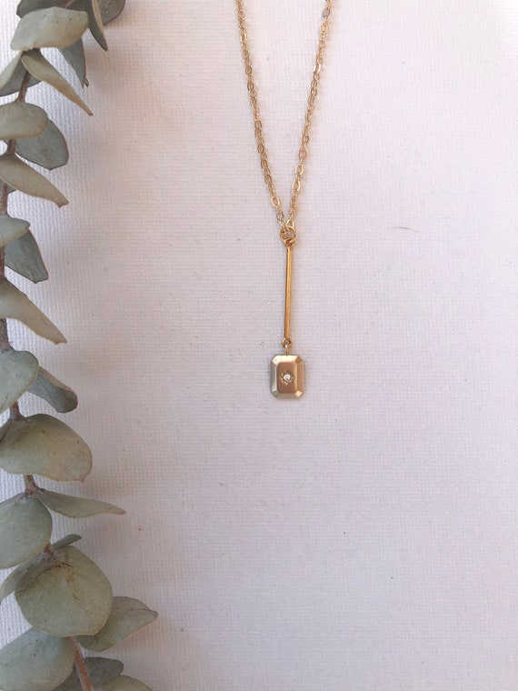 Leora - gold plated chain, deco pendant minimalist necklace - wedding, gift