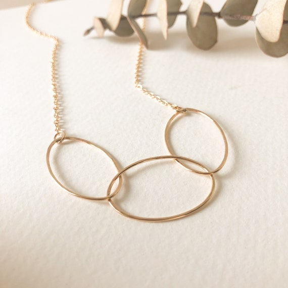 Celeste - Oval pendant, gold filled or sterling silver delicate chain