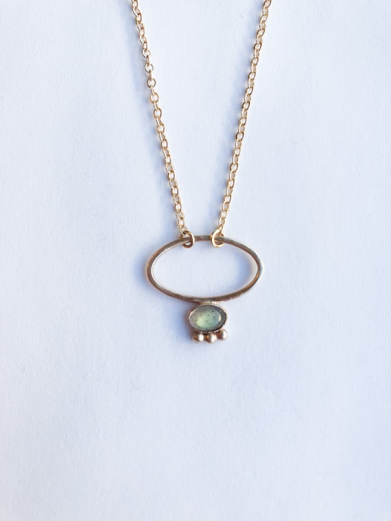 Odell- gold filled or sterling silver delicate chain and green tourmaline pendant
