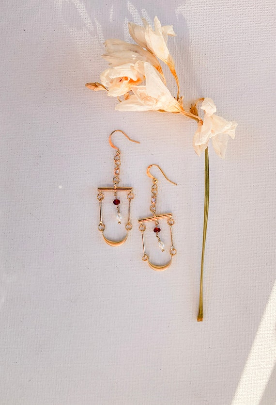 Lisette - dangle gold plated minimalist boho earrings