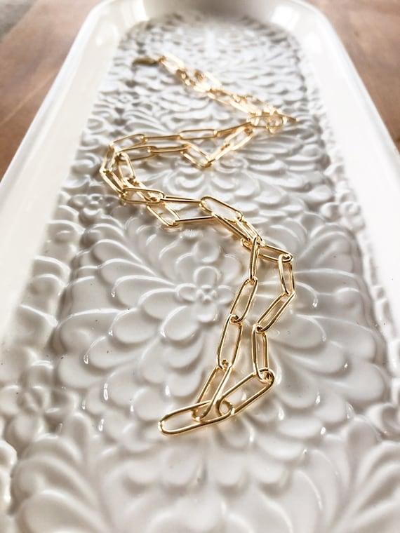 Yuki - plain large oval link gold plated layering necklace
