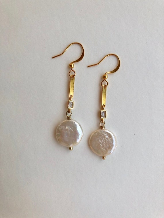 Anna - Dainty drop gold coin pearl earring