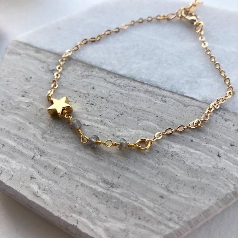 minimalist dainty star and labradorite bracelet Emerson wedding gift