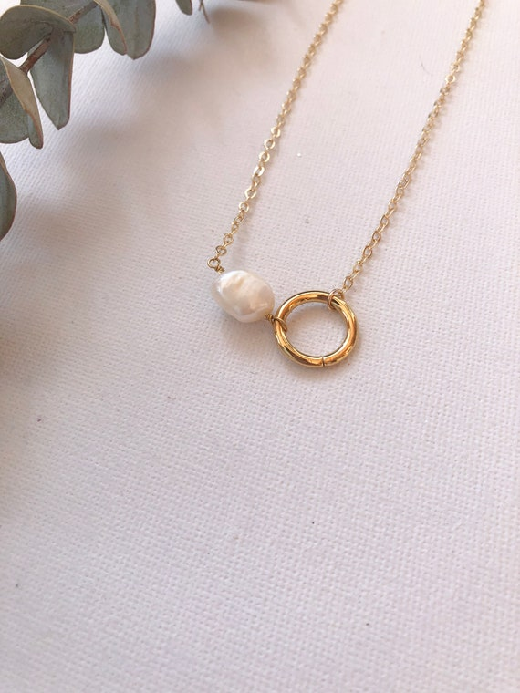 Virginia - gold filled chain, simple freshwater pearl necklace - wedding, gift
