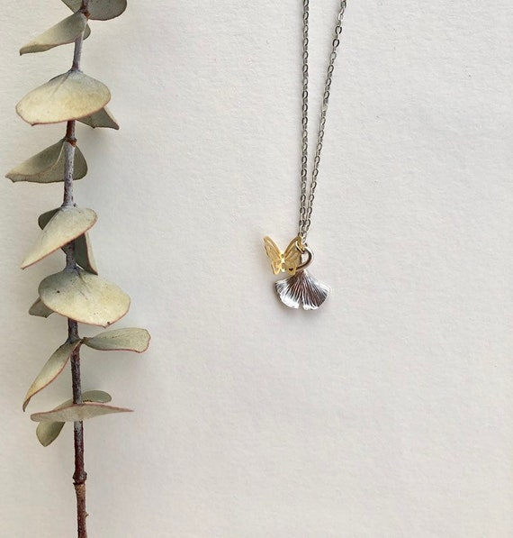 Sale - silver plated ginko with butterfly charm necklace