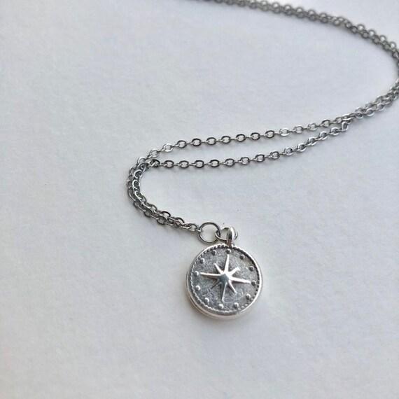 Mackenzie - silver plate compass pendant necklace