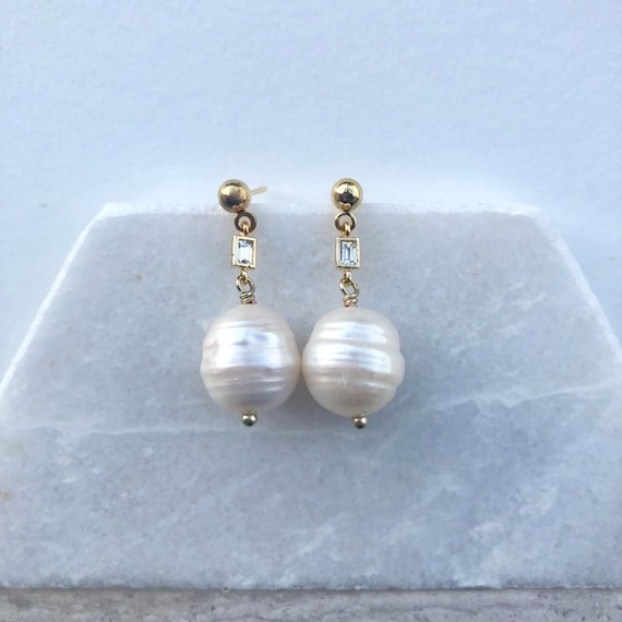 Rebecca - gold plated baroque white pearl drop earring