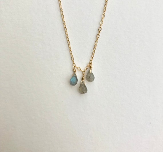 Haleigh- dainty gold filled chain with labradorite drops -minimalist, delicate wedding