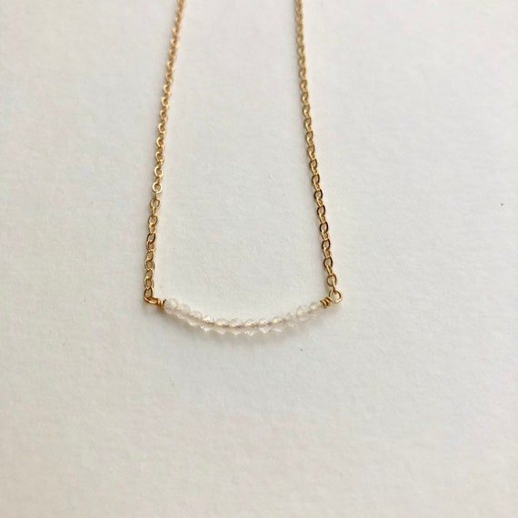 Taylor - gold plated moonstone bead minimalist necklace - wedding, gift