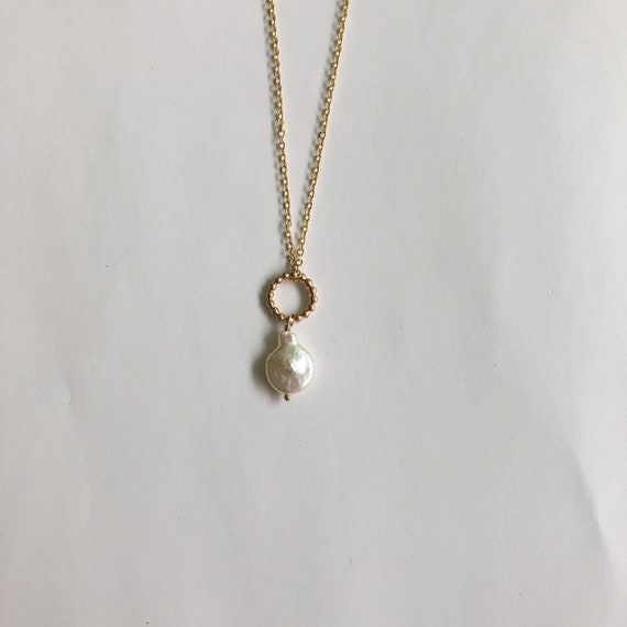 Elaine - gold filled or sterling silver delicate chain and freshwater pearl pendant