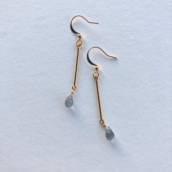 Camilla - gold plated, labradorite drop dainty earring