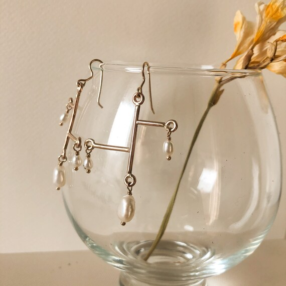Grayson - gold filled and freshwater pearl earrings